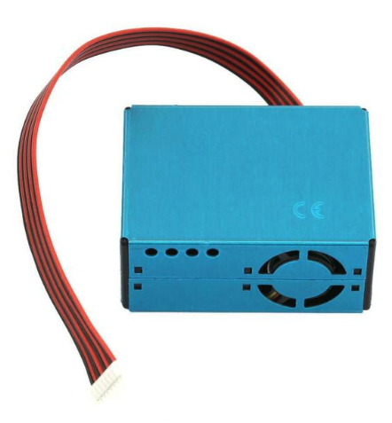 Blue PMS5003 sensor box with a fan and 6-wire cable coming out of it.