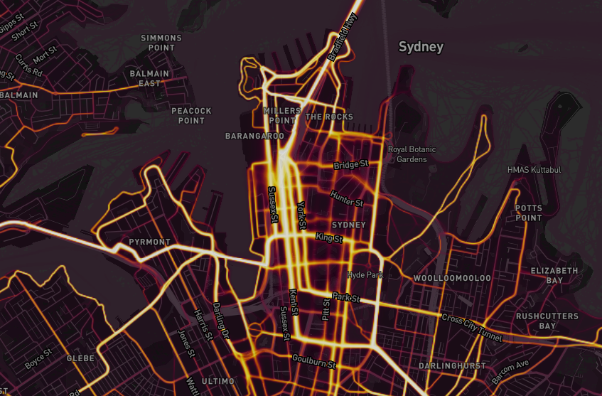 Strava Heatmap - City of Sydney