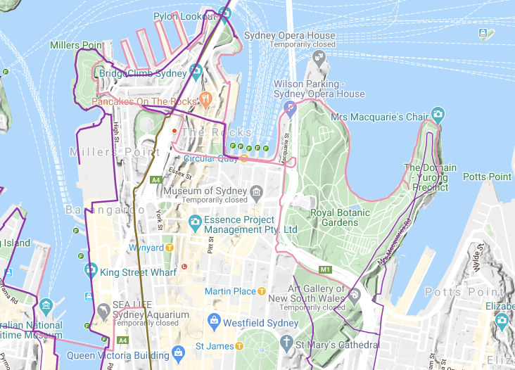 BikeTrail's routes map overlaid on Google Maps