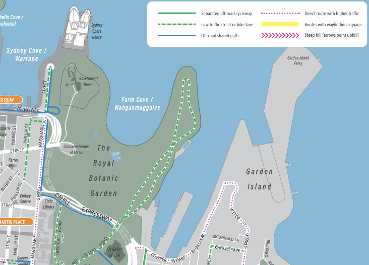 SydneyCycleways Map - zoomed into Sydney Botanic Gardens
