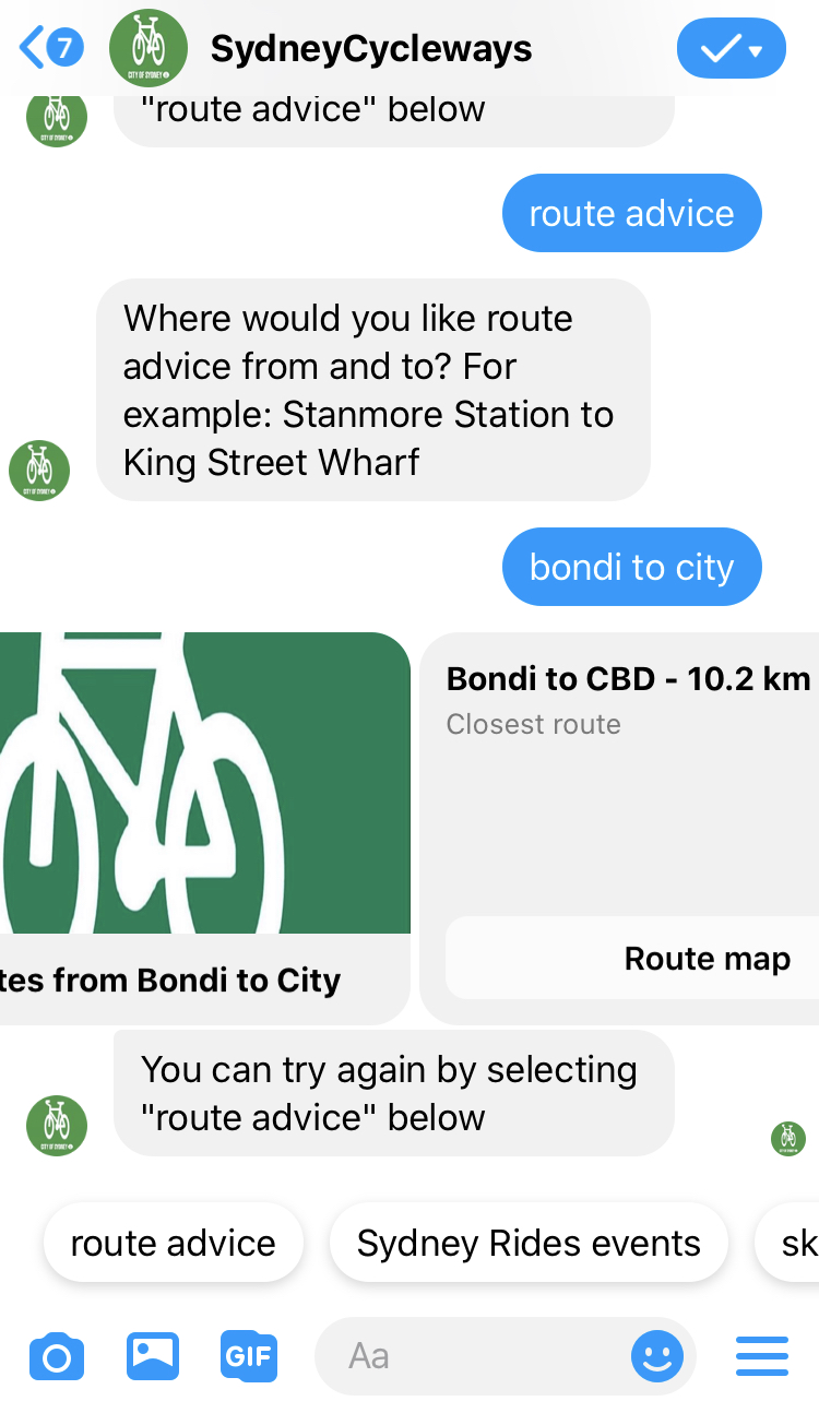 A chat message with SydneyCycleways chatbot, asking for route advice Bondi to City and getting back two route options