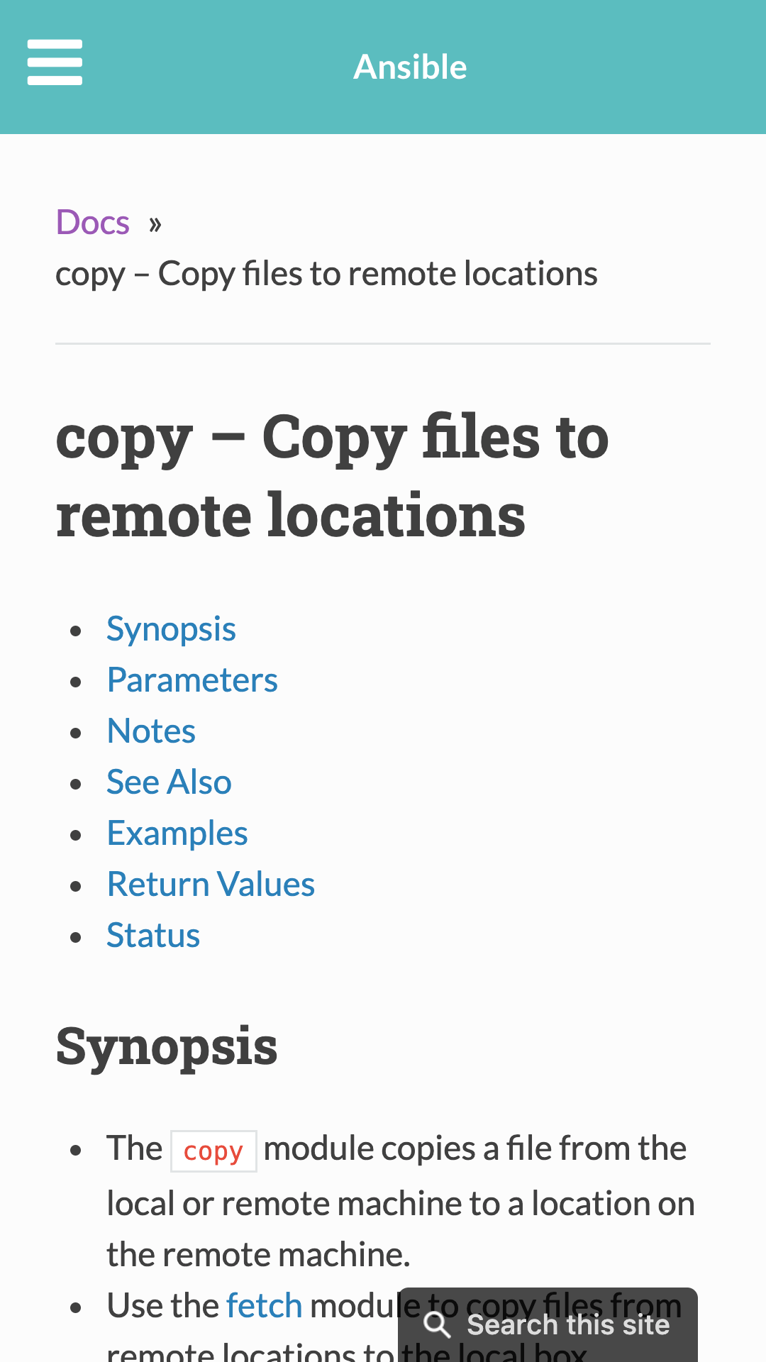 Ansible docs for 'copy' module, mobile UI. Table of contents, and synopsis, with a search button.