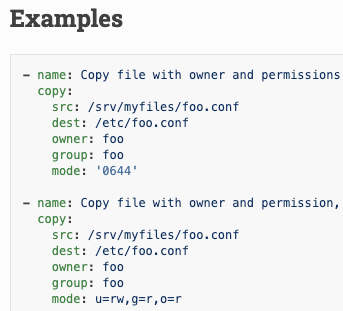 Two YAML examples of Ansible configuration of the 'copy' module in the docs page.