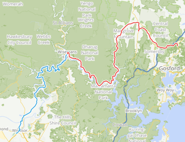 Map, starting in Windsor, to Wisemans Ferry, to Mangrove Mountain and Ourimbah.